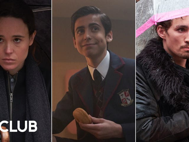 Ellen Page, Robert Sheehan i Aidan Gallagher rozmawiają w The Umbrella Academy