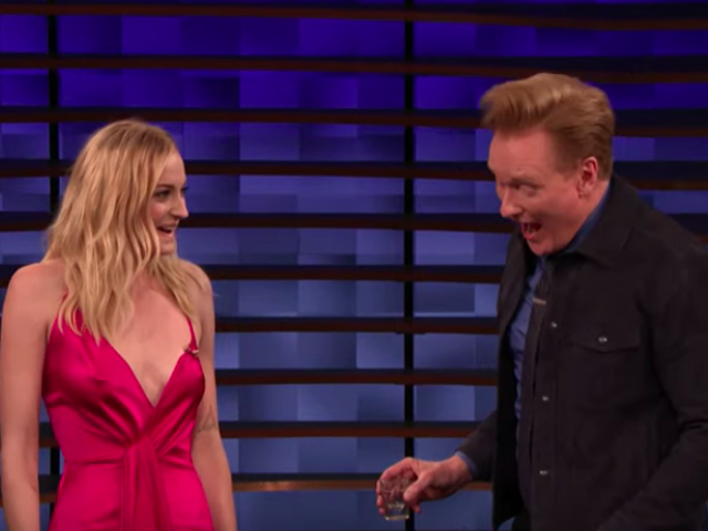 Sophie Turner and Conan O'Brien play tequila slaps, which is just what it sounds like