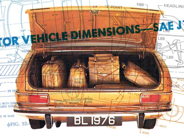 Bunlar, arabanızın bagajının ne kadar büyük olduğuna karar vermek için kullanılan sekiz resmi bagaj parçası.