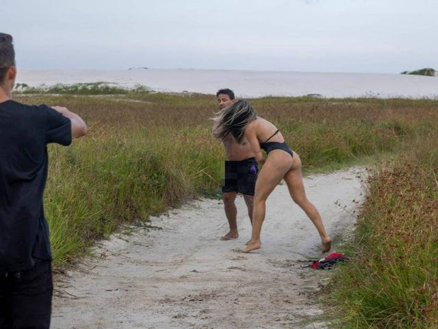 Amateur MMA Fighter Beats Up Man Jerking Off In Front Of Her During Beach Photoshoot