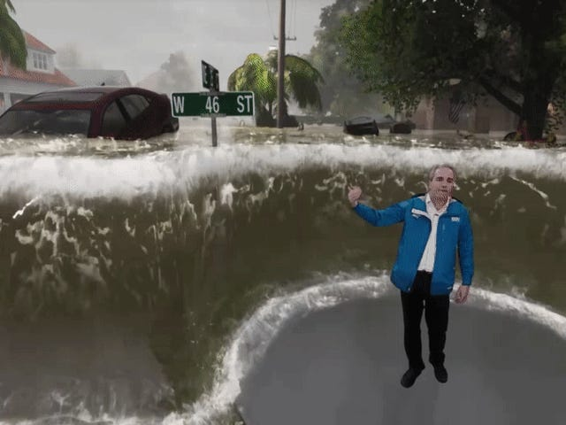 สิ่งที่เริ่มต้นจากรายงานพายุเฮอริเคนของ Weather Channel ทั่วไปกลับกลายเป็นเมื่อผู้ประกาศส่ง