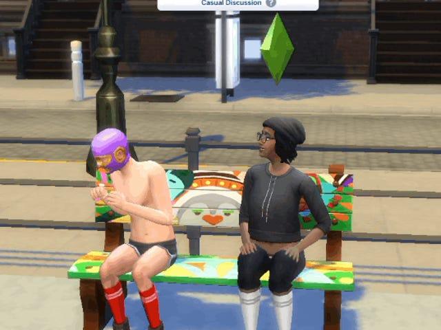 J'ai quelques questions à poser à Luchador, le torse nu qui s'est présenté dans mon jeu <i>Sims 4</i>