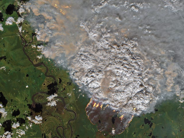 Satellite Images Show Vast Swaths of the Arctic On Fire