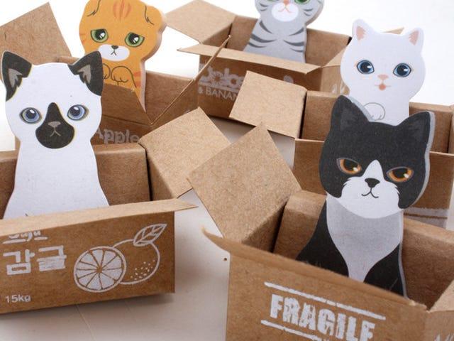 Skal have: Sticky notes formet som katte sidder i papkasser