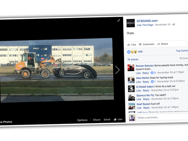 Here's The First Bugatti Chiron To End Up In A Ditch