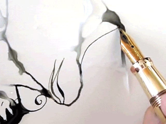 The magic of writing on water with a fountain pen