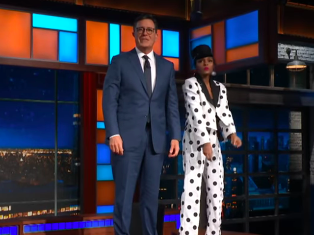 Janelle Monáe and Stephen Colbert remember partying with the Obamas, dance on the Late Show desk