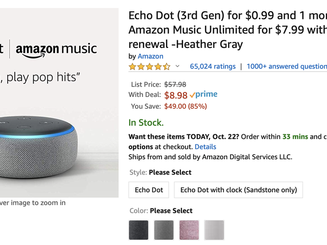 Price Mistake? Get An Echo Dot For $9, Plus a Month of Music Streaming.