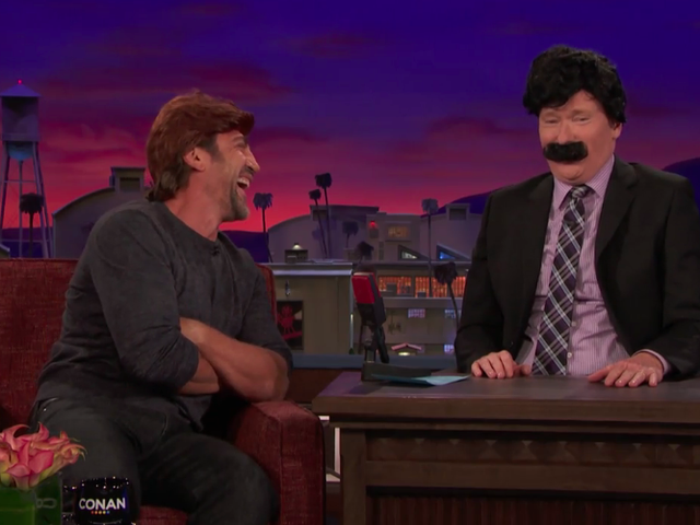 Terrifying goofball Javier Bardem gives ugly lessons (and a wig) to Conan