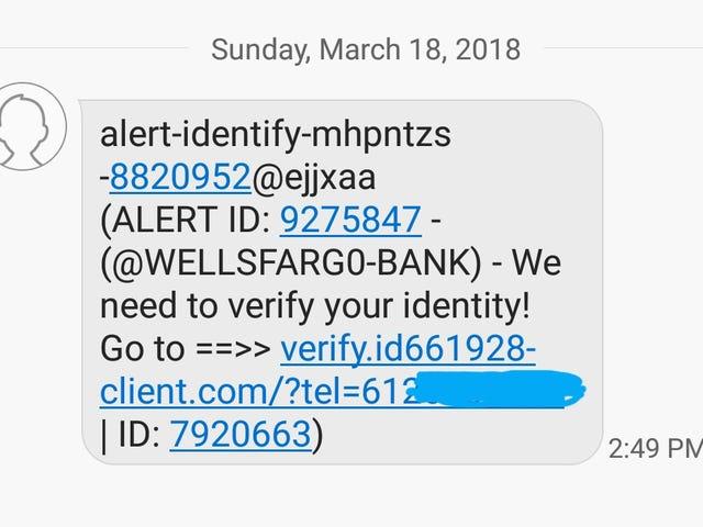 Phishing scams via text?