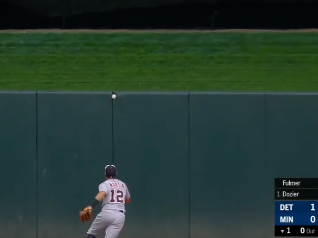 Brian Dozier Got A Ball Stuck In The Outfield Wall