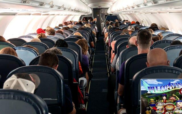 """Prega per noi: abbiamo appena saputo che il capitano di questo volo non ha mai suonato """"Pilot Wings 64"""" e sta per prendere d'assalto la cabina di pilotaggio"""