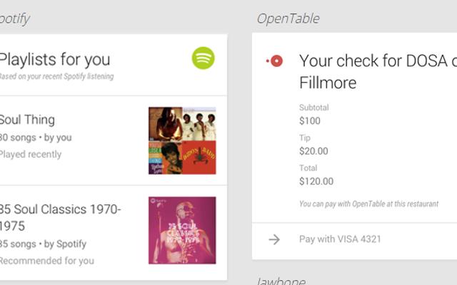 Google Now otrzymuje wsparcie dla 70 nowych aplikacji, w tym Spotify i OpenTable