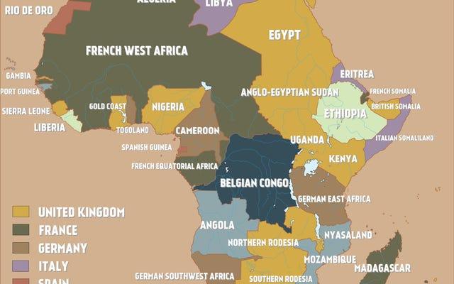 प्रथम विश्व युद्ध के ठीक पहले के औपनिवेशिक अफ्रीका का नक्शा