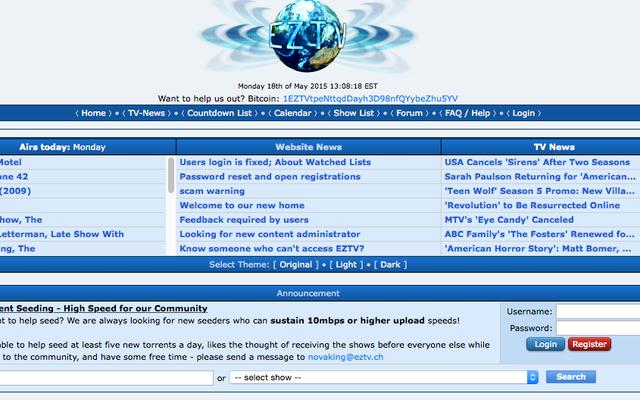 EZTVトレントページが閉じられました。現在のドメインは詐欺です