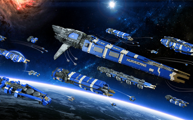 C'est une énorme flotte spatiale LEGO