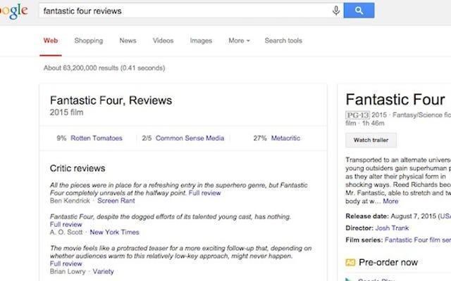"""Добавляйте """"обзоры"""" к поиску фильмов в Google, чтобы получать отрывки отзывов критиков"""