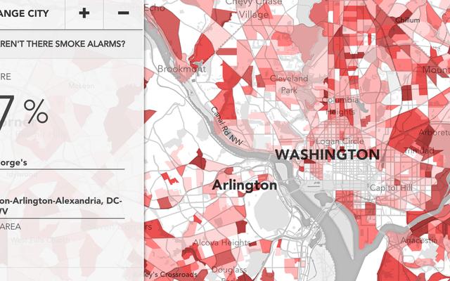 この地図は、どの家に火災警報器が必要かを予測するのに役立ちます