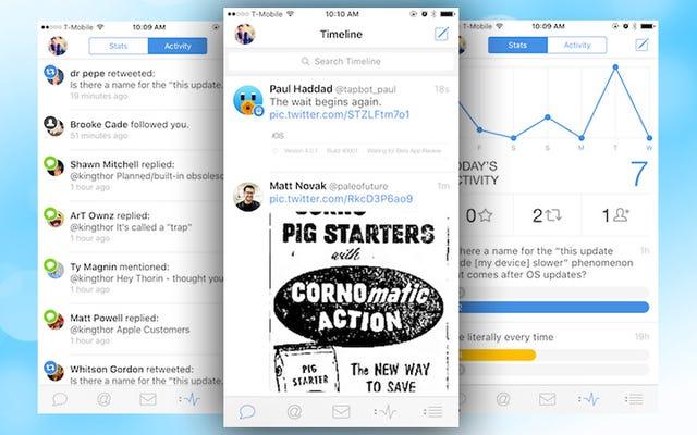 Tweetbot 4がiPadに登場し、iPhoneに統計や横向きのビューなどを追加します