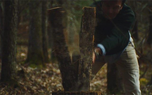 Abbattere un albero per farne uno sgabello nel bosco è meravigliosamente tranquillo