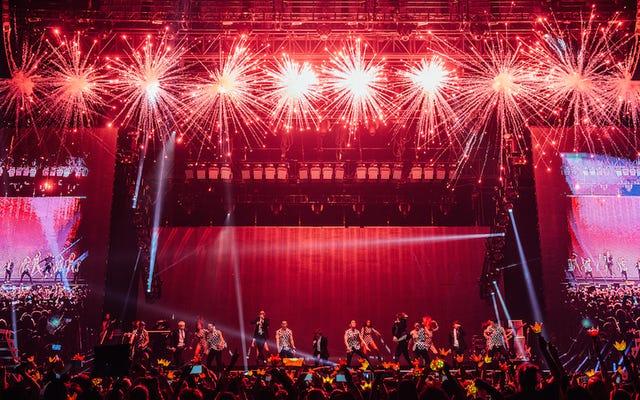 韓国最大のボーイバンド、BIGBANGとのパイロ、紙吹雪、ディープラスト