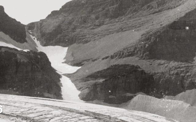 これらの写真は、地球温暖化前後の氷河を示しています