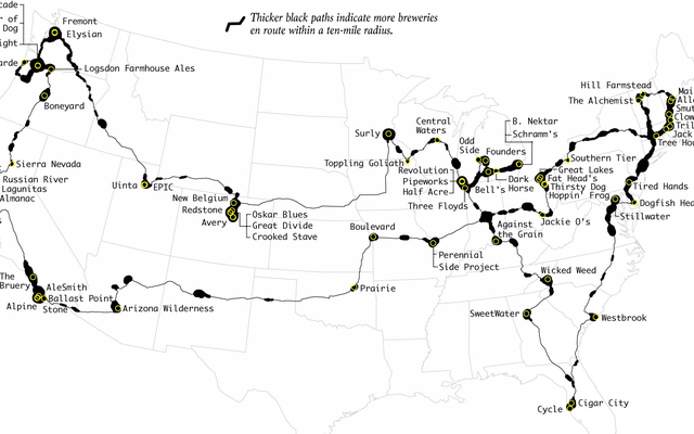 1回のロードトリップで米国の最高の醸造所をご覧ください