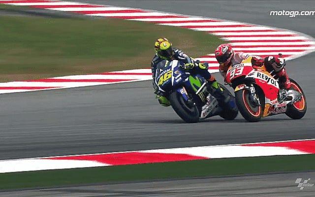 Honda afirma tener pruebas de que Rossi pateó la palanca de freno de Márquez en Malasia