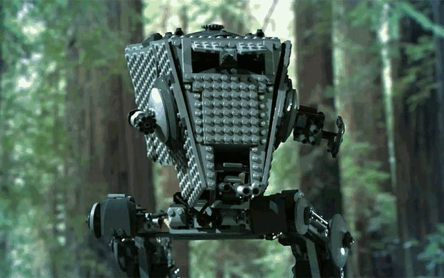 イウォークのようにログでレゴAT-STを壊すのはとても満足です