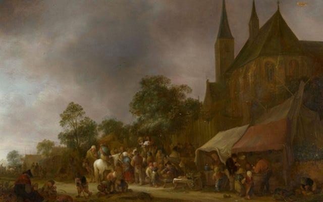 エリザベス女王の絵画の1つを復元すると、ダンプを取っている男性が明らかになります