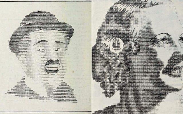 Пишущая машинка ASCII-портреты классического Голливуда и одержимых фанатов, которые их сделали