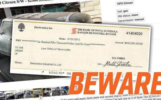 Bitte fallen Sie nicht auf den Craigslist Money Order Scam herein