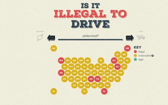 यह इंटरएक्टिव मानचित्र दिखाता है कि हेडफ़ोन के साथ ड्राइव करना कहाँ अवैध है, आपकी गोद में एक कुत्ता, और बहुत कुछ