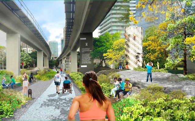 これらの公園は、醜い都市の地下道を公共スペースとして埋め立てています