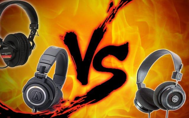 ヘッドフォン対決:Grado SR80e vs Audio-Technica ATH-M50x vs Sony MDR-V6