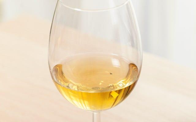 グラスワインに生気を失って浮かんでいるミバエが、ごみ遣いの危険を暗く思い出させる