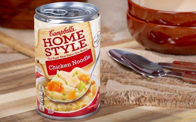 Puszka Zupy Zraniony przez obwieszczenie, że w domu nie ma nic do jedzenia
