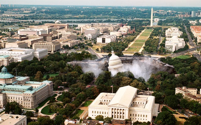 Переговоры по инфраструктуре прекращаются после того, как гигантский карстовый колодец поглотил здание Капитолия