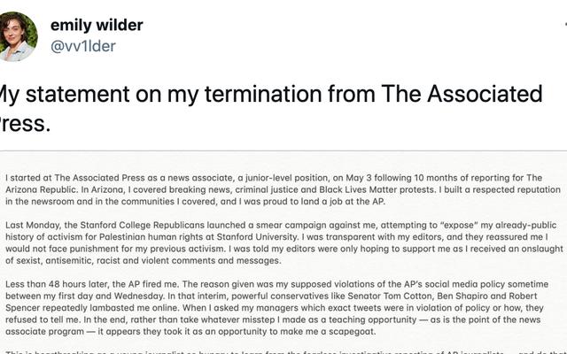 La journaliste licenciée par l'AP pour avoir soutenu la Palestine déclare qu'elle `` ne sera pas intimidée dans le silence ''