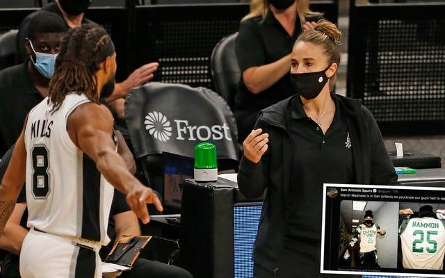 สเปอร์สยกย่องตำนานบาสเก็ตบอลหญิงของซีเอด้วยการแสดงแฟชั่นโชว์เสื้อในซานอันโตนิโอ