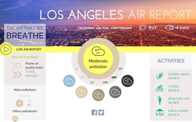 このインタラクティブマップを使用して、都市のスモッグレベルをリアルタイムで確認します