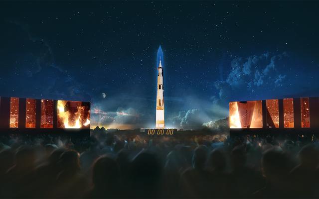 人間を月に連れて行ったロケットは来週ワシントン記念塔に映し出される