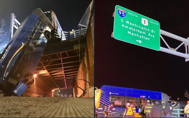 Autobús articulado se hunde en el paso elevado de Nueva York, 9 heridos