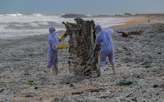 船の燃焼によるプラスチック廃棄物がスリランカの海岸線を埋める