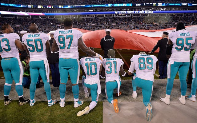 レポート:イルカは罰せられる犯罪として国歌の抗議をリストします