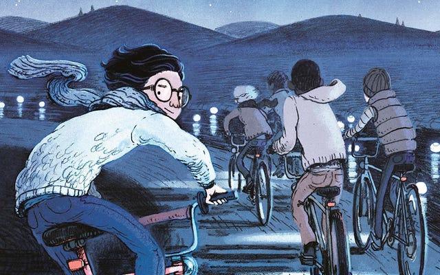 5人の男の子がこれで神秘的な未知の世界に自転車で乗り込みますこれは私たちの協定だけでした
