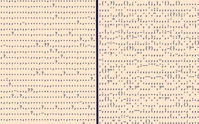 有名な本から単語を切り刻むと、かなりの句読点アートが作成されます