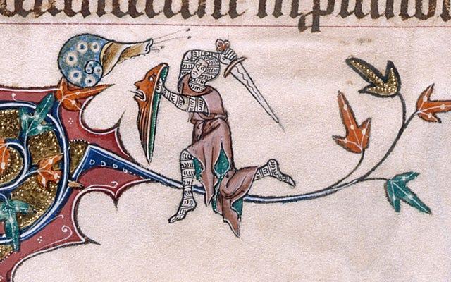 विशाल घोंघे से लड़ने वाले शूरवीरों के बहुत सारे मध्ययुगीन चित्र हैं और कोई नहीं जानता कि क्यों