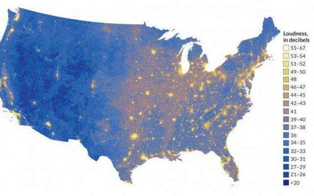 สถานที่ที่ดังและเงียบที่สุดในสหรัฐอเมริกาแผนที่