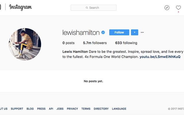 Lewis Hamilton está limpiando su Instagram y Twitter como todos deberíamos, francamente